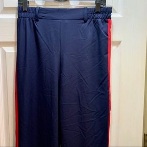 Sz L Ambiance Apparel Blue Red & White Pants NWOT